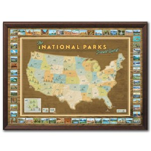 Framed National Parks Travel Quest Map