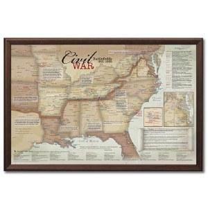 Framed Civil War Battlefields Map