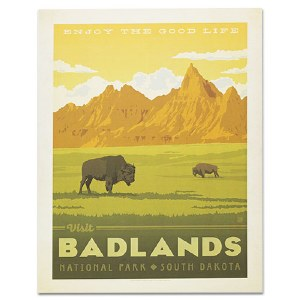 Badlands National Park Classic Travel Poster