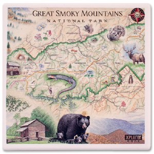 Great Smoky Mountains Map Coaster
