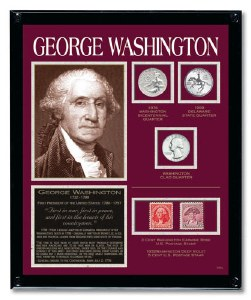 George Washington Framed Tribute With Coins
