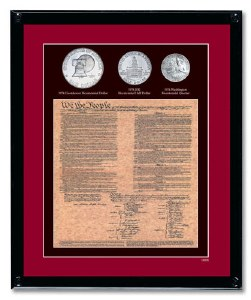 Framed US Constitution with Bicentennial Coins