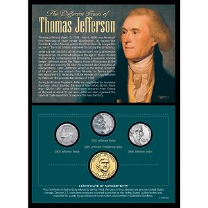 Different Faces of Thomas Jefferson Coin Set