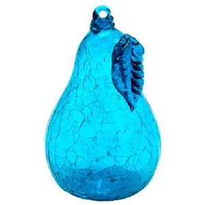 Teal Crackled Glass Pear Ornament