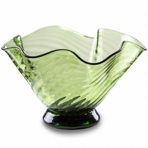 Handblown Small Green Wave Bowl