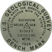 Cadillac Mountain Bench Mark Medallion Pin