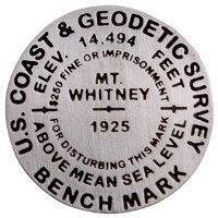 Pewter Mount Whitney Benchmark Medallion Pin