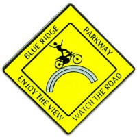 Blue Ridge Parkway Yellow Moto Man Lapel Pin