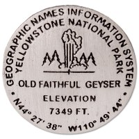 Old Faithful Geyser Bench Mark Medallion Pin