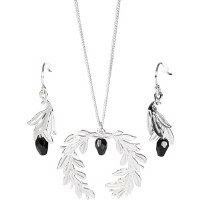 Lincoln Memorial Laurel Earrings & Necklace Set (Black)