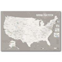 National Park System Units Map - White & Gray