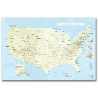 National Park System Units Map - Beige & Light Blue