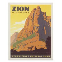 Zion National Park Sacred Cliffs Classic Travel Poster