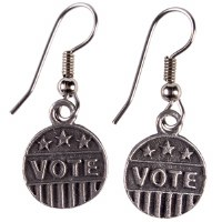 Pewter ''VOTE'' Earrings