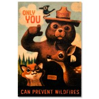 Wood Smokey Bear Magnet