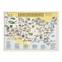 National Parks And Monuments Map Poster