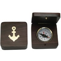 Redwood Cased Nautical Compass