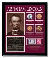 Abraham Lincoln Framed Tribute With Coins