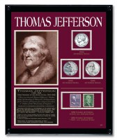 *Thomas Jefferson Framed Tribute With Coins