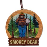 Smokey Bear Ornament Wood
