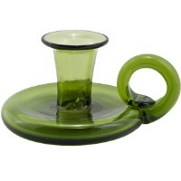 Green Glass Colonial Candlestick Holder