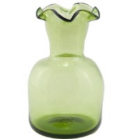 Green 6-Lipped Glass Vase