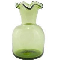 Green 6-Lipped Glass Vase