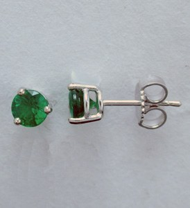 Emerald stud earrings .62cttw 18kt white gold