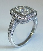 Diamond and platinum Ring 3.00cttw 2.00 radiant cut model 0008849