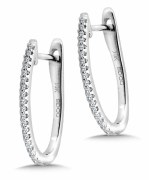 Diamond hoop earrings 1/10cttw 14ktw gold model 030-EDD3027-W