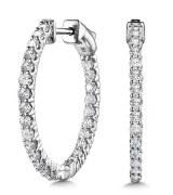 Diamond hoop earrings 1/2 cttw 14kt white gold model 030-EDD3300-W