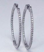 Diamond hoop earrings 1.50cttw FG VS 14kt
