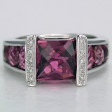 Pink tourmaline and diamond ring 18kt white gold 5.06cttw