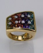 Gemstone diamond ring 18kt yellow gold 7.15cttw