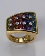 Gemstone diamond ring 18kt yellow gold 7.15cttw
