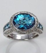 Blue topaz and diamond ring 18kt white gold 6.58cttw model 070-R6479
