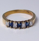 Diamond and sapphire ring 14kt gold 0.90 cttw model 082-360-10019