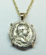 Ancient silver coin of Hadrian 117-38 AD coin pendant 14kty model 085-000-129