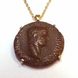 Ancient Roman Coin Germanicus bronze coing set in 14kt frame model 085-000-129