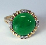 Jadeite diamond 14kt ring