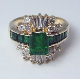 Emerald diamond 14kt ring