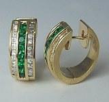 Emerald diamond 14kt earrings