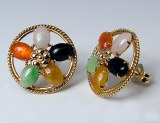 Jadeite 14kt earrings