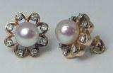Pearl diamond earrings 14kt