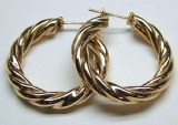 Twisted 14kt yellow gold hoop earrings