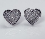 Diamond heart earrings 14ktw gold 1.03cttw G VS