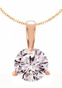 Diamond Pendant 1.00 carat H-SI2 14kt rose gold 3 prong mounting model 144-23559-100R