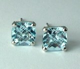Blue Topaz Earrings 7x7 Cushion Cut 14kt model 144-24863-7x7-BLT