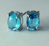 Blue Topaz Earrings 8x6 Cabachon 14kt model 144-29492-8x6-BLT