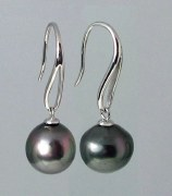 Black Tahitian Pearl Earrings 12mm 14kt White Gold